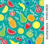 hand drawn fruit vector pattern | Shutterstock .eps vector #544814830