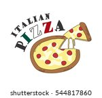 delicious italian pizza...   Shutterstock . vector #544817860