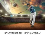 baseball players in action on... | Shutterstock . vector #544829560