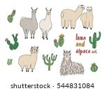 cute lama  alpaca and cactuses... | Shutterstock .eps vector #544831084