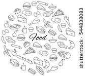 hand drawn food round set | Shutterstock .eps vector #544838083