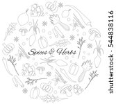 hand drawn round set with herbs ... | Shutterstock .eps vector #544838116
