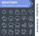 set of thin line weather icons...