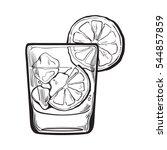 glass of gin  vodka  soda water ... | Shutterstock .eps vector #544857859
