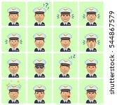 big set of airline pilot... | Shutterstock .eps vector #544867579