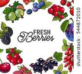 square frame of garden berries... | Shutterstock .eps vector #544872010