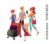 family of four in the airport ... | Shutterstock .eps vector #544876810