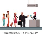 line to airport check in ... | Shutterstock .eps vector #544876819