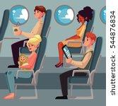 set of airplane passenger in... | Shutterstock .eps vector #544876834