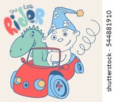 little teddy bear racer with a... | Shutterstock .eps vector #544881910
