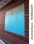 blue wooden closed windows with ... | Shutterstock . vector #544883359