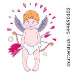 valentine's day. funny cupid... | Shutterstock .eps vector #544890103