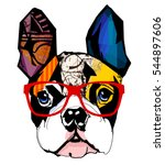 portrait of french bulldog... | Shutterstock .eps vector #544897606