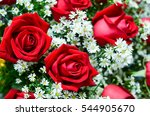 Stock photo bouquet of fresh roses flower bright background 544905670
