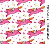 children's cute seamless... | Shutterstock . vector #544907269