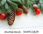 christmas tree branches with... | Shutterstock . vector #544911829
