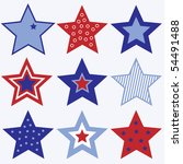 Set Of Red White And Blue Star...