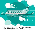 aircraft in the cloudy sky... | Shutterstock .eps vector #544920709