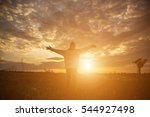 young woman raise hands up for... | Shutterstock . vector #544927498