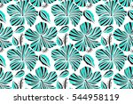 aloha typography with hibiscus... | Shutterstock . vector #544958119