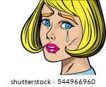 blonde woman cry and feel sad... | Shutterstock .eps vector #544966960