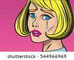 blonde woman cry and feel sad... | Shutterstock .eps vector #544966969