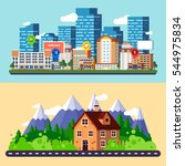flat city and forest landscapes ... | Shutterstock .eps vector #544975834
