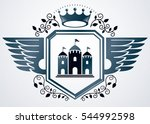 vintage emblem made in heraldic ... | Shutterstock . vector #544992598