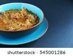 Cabbage Soup On Blue Plate.
