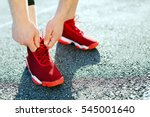 Sport concept  red sneakers for ...