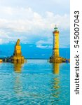 lighthouse and a lion statue... | Shutterstock . vector #545007043