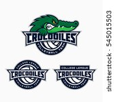 set of crocodile mascot for a... | Shutterstock .eps vector #545015503