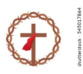 cross with red shawl inside a... | Shutterstock .eps vector #545017864
