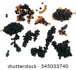 black and red caviare in spoon... | Shutterstock . vector #545033740