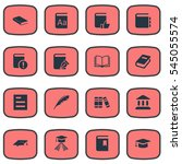 set of 16 simple books icons.... | Shutterstock .eps vector #545055574