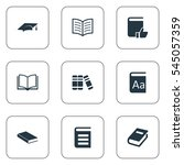 set of 9 simple education icons.... | Shutterstock .eps vector #545057359