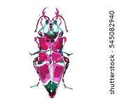 watercolor pink beetle.   Shutterstock . vector #545082940