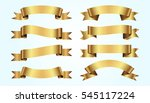 set of golden ribbons on blue... | Shutterstock .eps vector #545117224