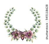 watercolor floral wreath with... | Shutterstock . vector #545118628