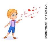 sweet little boy sends an air... | Shutterstock .eps vector #545126164