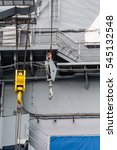 Small photo of Decks and details on the aircraft carrier Midway docked in San Diego