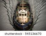 tug boat in corinth  greece