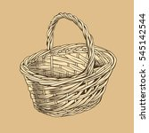 vintage basket in woodcut style | Shutterstock .eps vector #545142544