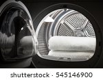 stacked clean white towels... | Shutterstock . vector #545146900
