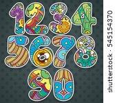 zentangle numbers set.... | Shutterstock .eps vector #545154370