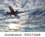 airplane flying across the sky... | Shutterstock . vector #545171068