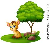 cartoon hyena under a tree on a ... | Shutterstock . vector #545189110