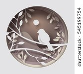 paper art carve to bird on tree ... | Shutterstock .eps vector #545199754