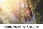 asian student girl reading book ... | Shutterstock . vector #545203870