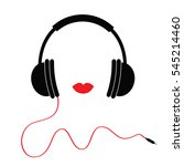 headphones with red cord and... | Shutterstock . vector #545214460